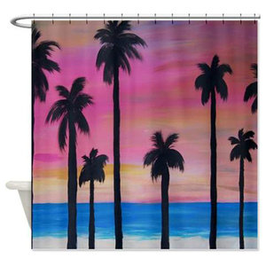 Sun Set Palms Shower Curtain