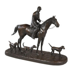Sculpture Statue Huntsman and 3 Foxhounds Equestrian OK Casting USA