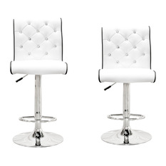 Furniture Import Export Inc Swivel Bar Stools With Crystals and Tufting Set of