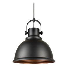 "Forte Lighting 7110-01 Single Light 12"" Wide Pendant with Metal Shade"