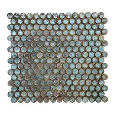 "12.3""x11.4"" Green Verdigris Antique Patina Penny Round Copper Tile, Single Sheet"