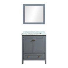 "Dubai 24"" Vanity Set With Mirror, Charcoal Gray, 30"""