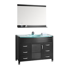 "Design Element Waterfall 48"" Single Sink Vanity Set w/ Glass Top"