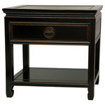 """Oriental Furniture - Rosewood Bedside Table, Antique Black - An elegantly finished, distressed black lacquer nightstand or end table, hand crafted from fine quality kiln dried Rosewood. A beautiful and practical design, with an easily accessed top drawer and open bottom shelf area, great for storing bedside reading. Designed with the classic Ming edged floating panel table top, to tolerate expansion from changes in moisture content in the wood. The drawer pull is carved in the shape of a """"Shou"""", symbolizing long life."""