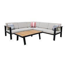Armen Living Nofi Outdoor Sectional Set, Charcoal Finish With Taupe Cushions