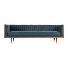 Kardiel Woodrow Linea Modern Sofa, Neptune Seat, Walnut Base