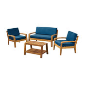 GDF Studio 4-Piece Parma Outdoor Wood Chat Set, Teak Finish/Teal