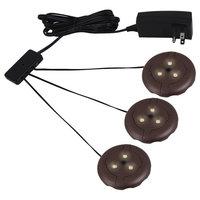 LED Disk Lighting Kits - 3 LED Puck light kit  bronze finish in Plated Bronze