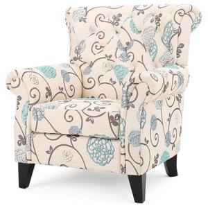 Manon Blue Amp White Floral Print Fabric Club Chair