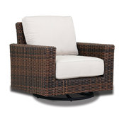 Montecito Swivel Rocker Club Chair With Cushions, Canvas Flax With Self Welt
