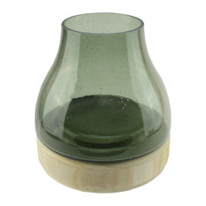 """7.75"""" Storm Gray Bubble Glass Pillar Candle Holder with Wooden Base"""