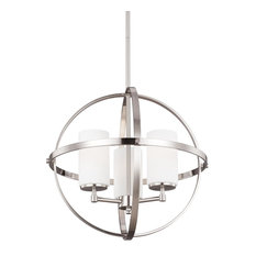 Alturas 3-Light Chandelier, Brushed Nickel, Etched/White Glass