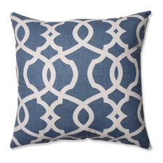 "Lattice Damask Blue 16.5"" Throw Pillow, Blue"