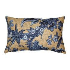 Pillow Decor - Tuscany Linen Brewood Blue Throw Pillow 12X20