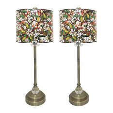 """28"""" Crystal Lamp With Magnolia Stained Glass Shade, Antique Brass, Set of 2"""
