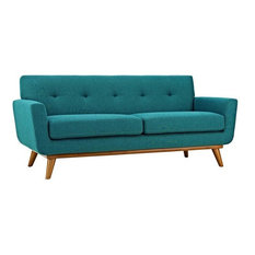 GRIFFON UPHOLSTERED FABRIC LOVE SEAT/TEAL