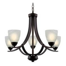 "Kira Home Weston 24"" Chandelier, Alabaster Glass Shades, Oil-Rubbed Bronze"
