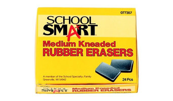 School Smart 077357 Kneaded Medium Rubber Eraser, Gray, Pack - 24