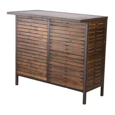GDFStudio   Isabel Dark Brown Acacia Wood And Rustic Metal Outdoor Bar  Table   Outdoor Pub