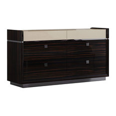 Contemporary Dresser 6 Storage Drawers With Square Pulls Elegant Design