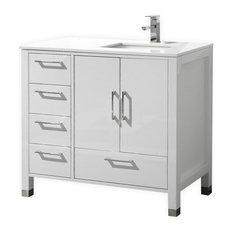 kubebath anziano vanity with quartz countertop high gloss white left side drawer - Small Modern Bathroom Vanities