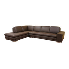 Wholesale Interior   Callidora Dark Brown Leather Leather Match Sofa  Sectional Reverse   Sectional Sofas