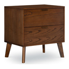 Riverbay Furniture Bristol 2-Drawer Wood Nightstand With Bronze Hardware - Brown