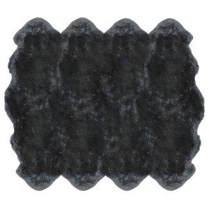 Veruca Modern Steel Grey Sheepskin 8 Pelt Fur Rug