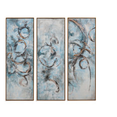 Oceanic Trip-Tych, Set of 3, Gold Frame
