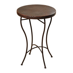 Round Hammered Copper Accent Table, Oil-Rubbed Bronze Powder Coat Legs