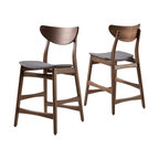 Molle Mid-Century Design Counter Stools, Gray/Walnut, Set of 2