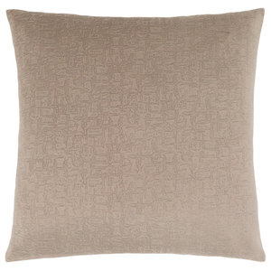 "18""x18"" Pillow, Taupe Mosaic Velvet, 1-Piece"