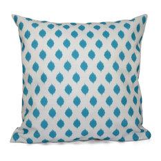 "Cop-Ikat Geometric Print Outdoor Pillow, Turquoise, 20""x20"""