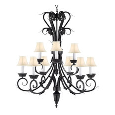Wrought Iron Chandelier With White Shades
