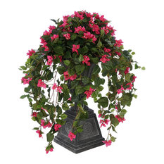 Faux Pink Bougainvillea in Urn Planter, Black Footed Tuscan Urn