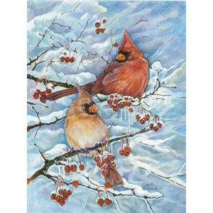 Winter's Glory Redbird 2 Northern Cardinal Flag Canvas House