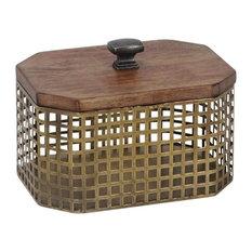 Sagebrook Home Bronze Metal Wood Top Box, Octagon