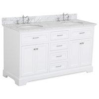 "Aria 60"" Bath Vanity, White, Top: Carrara, Double Vanity"