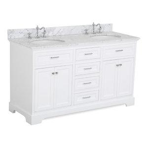 "Aria 60"" Bath Vanity, Double Vanity, Top: Carrara, White"