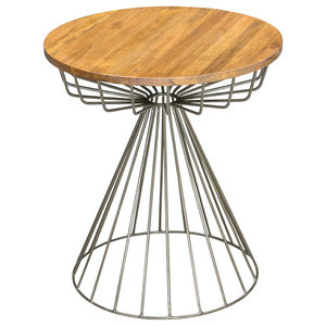 Re-Engineered Cage Side Table With Gunmetal Base