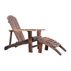 Outsunny Wooden Adirondack Outdoor Patio Lounge Chair With Ottoman, Rustic Brown