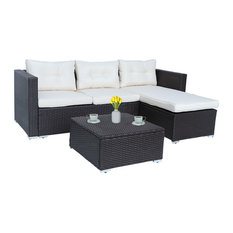 Home Beyond 3-Piece Patio Furniture Set Sectional Cushioned Seat Wicker