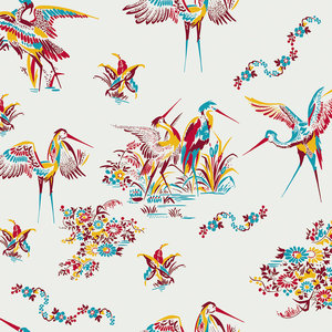"""""""Paper Cranes"""" Wallpaper, Maroon"""