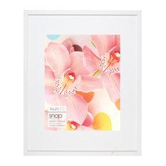 "Snap Photo Frame With White Mat, White, 16""x20"""