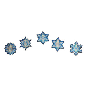 7' Blue and White Shimmering Snowflake Christmas Light Garland