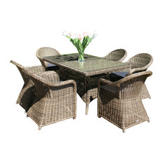 Mayfair 7-Piece Outdoor Dining Table Set, 6 Dining Armchairs