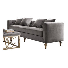 ACME Sidonia Sofa with 4 Pillows, Gray Velvet