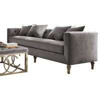 ACME Sidonia Sofa with 4 Pillows, Gray Velvet
