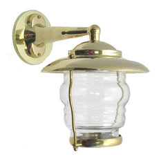 Small Patio Wall Light Fixture, Solid Brass Interior & Exterior