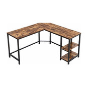 L-Shaped Computer,Corner Desk,Study Workstation with Shelf Rustic Brown ULWD72X